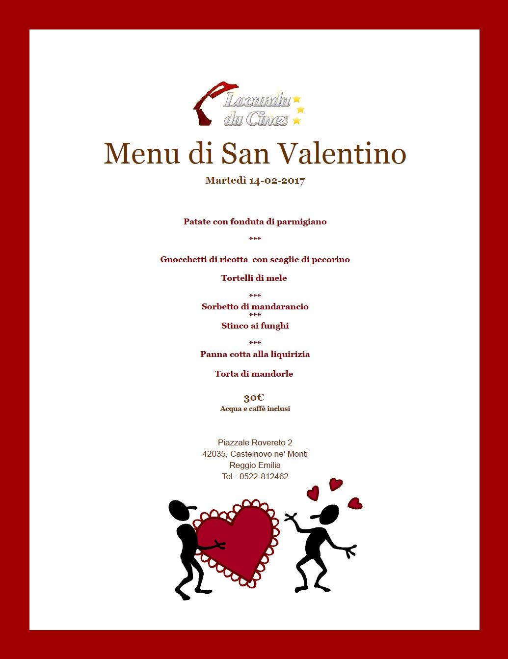 Menù di San Valentino a Castelnovo ne Monti 2017