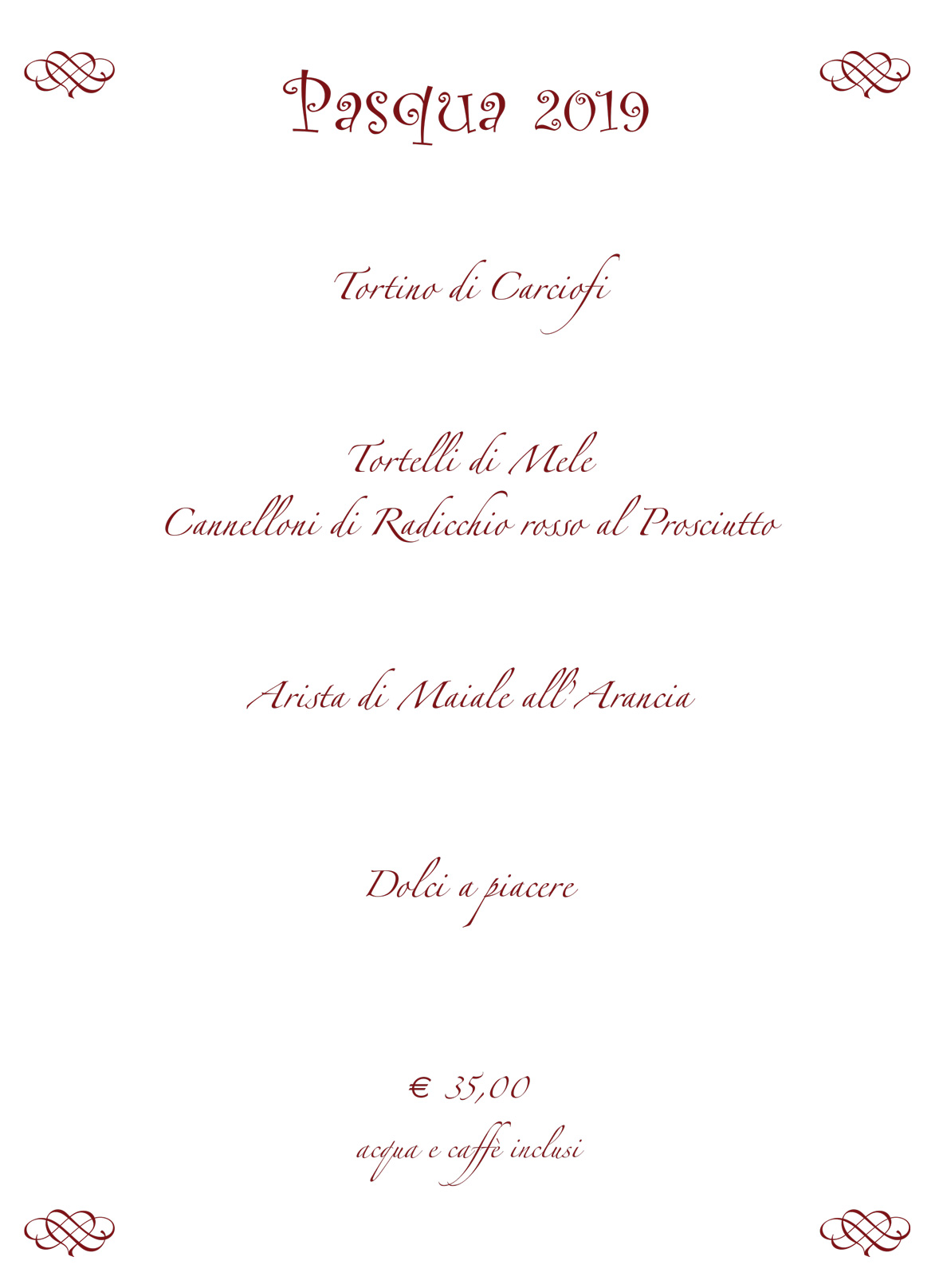 Menu di Pasqua 2019 - Cines - Castelnovo ne Monti - Reggio Emilia